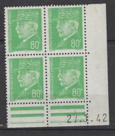 CD 513 FRANCE 1942 COIN DATE 513 : 27 / 1 / 42 EFFIGIES DU MARECHAL PETAIN - Dated Corners