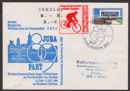 Bike Sonderpostbeförderung -Rote Radler - Dresden JUBA Schmuckumschlag Cites Unies Weltföderation 1989, Vignette - Cycling