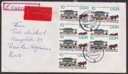 Dresdener Pferdebahn Um 1866, 10 Pfg. (7) Portogenau Auf Eilbrief Torgelow, DDR 3015, Hist. Straßenbahnen - [6] République Démocratique