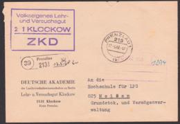 Klockow (39) Prenzlau Spatelstempel Deutsche Akademie Lehr- Und Versuchsgut 17.5.68 ZKD Kastenstempel - Dienstpost