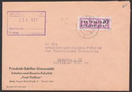 Germany JENA DDR ZKD B11(1103) Kreisaufdruck, 20 Pf. Friedrich Schiller-Universität Fred Oelßner - [6] Democratic Republic