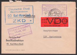 Deutsche Post Karl-Marx-Stadt ZKD Kastenst. In Blau Statt Violett Mit Vertrauliche Dienstsache, D3y Postsache 12.4.67 - [6] Democratic Republic