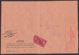 Berlin Ministerium Maschinenbau ZKD-AFS =128=, Rohrpost Und Eilbote Auf Umschlag JENA. Briefvorderseite N. Grünhain - [6] Democratic Republic