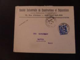 Enveloppe (718A) Cachets 31.5.47  14 - Trajet  Boulogne Sur Mer Entrepôt  - Cassel - 1945-54 Marianne (Gandon)