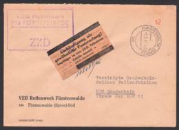 Fürstenwalde (Spree), DDR ZKD-Kastenst. Pergamin-Klebezettel ZKD-Kontrolle ZKD 7 In Braun, Reifenwerk 9.2.67 - Service