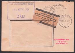 Berlin-Weissensee, DDR ZKD-Kasten-St.. Pergamin-Klebezettel ZKD-Kontrolle ZKD 7 In Braun,  VEB Schnellflechter 20.1.67 - Service