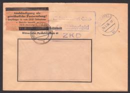 """Bitterfeld, DDR ZKD-Kasten-St.. Pergamin-Klebezettel ZKD-Kontrolle ZKD 7 In Braun, VEB Braunkohlenwerk """"Einheit"""", 1956 - [6] République Démocratique"""
