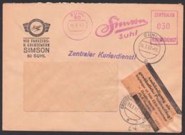 """SUHL, DDR ZKD-AFS. Pergamin-Klebezettel ZKD-Kontrolle ZKD 7 In Braun, SIMSON, """"Simme"""", Fahrzeugwerk 14.3.67 - Dienstpost"""