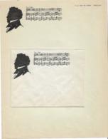 Franz Schubert, Silhouette Sur Papier à Lettre Et Enveloppe à Entête Rue De Capri à Paris - Old Paper