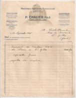 1946 FACTURE MACHINES AGRICOLES MOTOCULTURE CHALIER  UZES ARPAILLAGUES TRACTEUR  ET 2 PAGES CARACTERISTIQUES  E27 - Agriculture