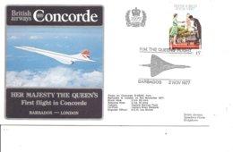Concorde ( Vol Barbades -Londres De 1977 Avec Timbre Non Dentelé à Voir) - Concorde