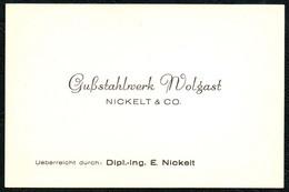 B6476 - Wolgast - Gußstahlwerk Nickel & Co - Visitenkarte - Visitenkarten