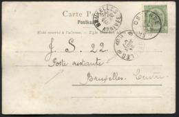 POSTE RESTANTE - N°56 Obl. OSTENDE S/CP Le 23/7/1902. Arrivée Càd BRUXELLES/6 Pour La Poste Restante. - 1893-1907 Coat Of Arms