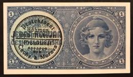 BOHEMIA & MORAVIA 1 KORUNA Pick#1b 1939 Spl/sup Lotto.1947 - Czechoslovakia