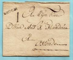Brief Zonder Inhoud Gedateerd 30/10/1755, Griffe BRUGES (Herlant 11 : 23x3,5 Mm) Naar Oostende, Port : 1 - 1714-1794 (Austrian Netherlands)