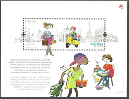 """Portugal  2012 25 Years Education Project """"Erasmus"""", Female Student With Book, Student On Moped Mi Bloc 330, MNH(**) - Neufs"""