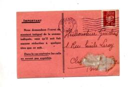 Carte Flamme Muette Vincennes Sur Petain - Marcophilie (Lettres)