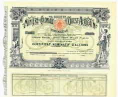 Société Minière Et Coloniale De L'Ouest-Africain, Certificat - Mines