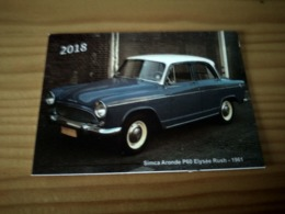 """Portuguese Pocket Collection Calendar,Calendário De Colecção """"Old Car, Simca Aronde P60 Elysée Rush De 1961"""" Year 2018 - Calendarios"""