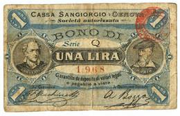 1 LIRA BIGLIETTO FIDUCIARIO CASSA SANGIORGIO GENOVA BB- - [ 1] …-1946 : Regno