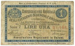 1 LIRA BIGLIETTO FIDUCIARIO CONFEDERAZIONE GENERALE ESERCENTI GENOVA BB- - [ 1] …-1946 : Regno