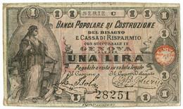 1 LIRA FIDUCIARIO BANCA POPOLARE COSTRUZIONE BISAGNO CASSA RISPARMIO GENOVA QBB - [ 1] …-1946 : Regno