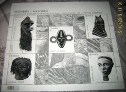 Zwart/Wit - Noir Et Blanc- Black & White Sheet/  Blok 258  MASKERS Uit Tervuren- Musée Royal De L'Afrique Central - Feuillets Noir & Blanc