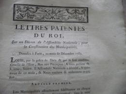 Révolution Lettres Patentes Du Roi Sur Décret De L'Assemblée Pour Constitution Des Municipalités Décembre 1789 + Manuscr - Décrets & Lois