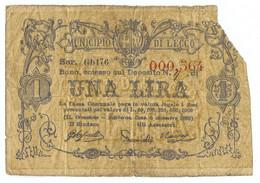 1 LIRA BIGLIETTO FIDUCIARIO MUNICIPIO DI LECCO MB - [ 1] …-1946 : Regno