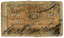 50 CENTESIMI BIGLIETTO FIDUCIARIO CARNELLI CASIANI REVELLI E C. LAVENO MB+ - Altri