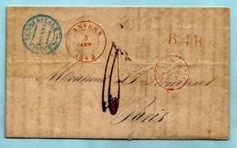 Brief Met Inhoud, Afst. ANVERS 05/01/1842 + B4R Naar Paris, Port 10 + Stempel BANQUE COMMERCIALE D'ANVERS - 1830-1849 (Independent Belgium)
