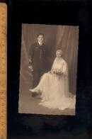 Photo-carte Vers 1920-1930 Mariage Mariées Soldat Aviateur Militaire 12 Eme Régiment Aviation - Personnages
