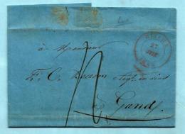 Brief Met Inhoud, Afst. BINCHE 27/06/1845 Naar GAND 28/06/1845 + Vacatiestempel 5 In Cirkel, Port : 4 - 1830-1849 (Independent Belgium)