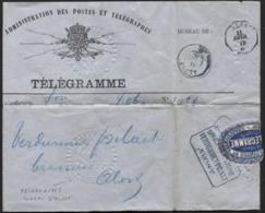 BRASSERIE - Télégramme Cachet En Relief + Càd Télégraphique Bleu ALOST 1879 - BROUWERIJ VERDURMEN PILAET AALST - Telegraph