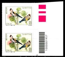 ITALIA / ITALY 2019** - Europa 2019 - Uccelli / Birds - Cardellino - Coppia Con Codice A Barre MNH Autoadesiva - 2019