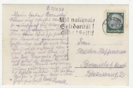übt Nationale Solidarität! - Slogan Postmark On Postcard Essen Posted 1933 B191020 - Deutschland