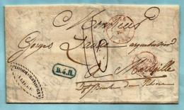 Brief Met Inhoud Fabricant D'Armes, Afst. LIEGE 15/06/1841 + B4R Naar MARSEILLE 20/06/1841, Port : 16 - 1830-1849 (Independent Belgium)