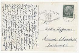 Schaft Arbeit! Bewachungsaufträge - Slogan Postmark On Postcard Essen Grugapark Posted 1935 B191020 - Deutschland