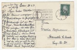 Fernsprecher Spart Zeit Und Geld - Slogan Postmark On Postcard Essen Städt.Saalbrau, Terrasse Posted 1931 B191020 - Deutschland