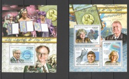 CA1019 2011 CENTRAL AFRICA CENTRAFRICAINE FAMOUS PEOPLE NOBEL PRIZE WINNERS 1KB+1BL MNH - Nobel Prize Laureates