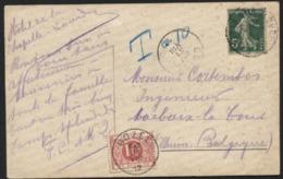 Taxe 10c Obl. GOZEE S/CP De Lourdes 1912 - Postage Due