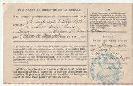 Ordre D'Appel Sous Les Drapeaux Recrutement De Chalon Sur Saône Le 27-10-1913 à Dijon 8e Sect D'infimiers Militaires - Casernes