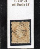 Paris - N° 21 Obl étoile 18 - 1862 Napoleone III