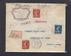 """LETTRE """"VALEUR DÉCLARÉE"""" DE MAQUET,GRAVEUR A PARIS,AVEC CACHET """"PARIS CHARGEMENT"""". - Covers & Documents"""