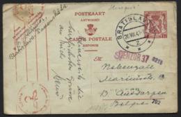 Entier CP 1fr Réponse Obl. En SLOVAQUIE De BRATISLAVA Vers Anvers 1941 + Censure Allemande. - Postcards [1934-51]