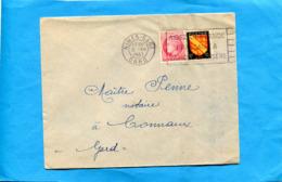 """MARCOPHILIE -LETTRE Cad NIMES Gare +flamme""""aidez L'entraide à Vaincre La Misère"""" 2 Afft Mazelin + Blason - Marcophilie (Lettres)"""