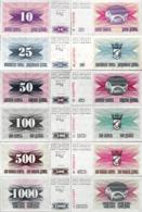 Bosnia And Herzegovina 1992 Set 6 Pcs 10+25+50+100+500+1000 Dinara - Pick 10-15 UNC - Bosnia Erzegovina