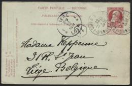 Entier CP 10c Grosse Barbe Réponse Obl. Française PARIS BOISSY Vers Liège 1911 - Postcards [1909-34]
