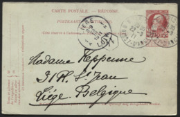 Entier CP 10c Grosse Barbe Réponse Obl. Française PARIS BOISSY Vers Liège 1911 - Stamped Stationery