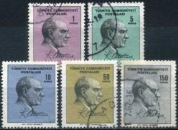 Turkey 1965 - Mi. 1976-80 O, Postal Stamps, Atatürk   Facsimile Signature - 1921-... République